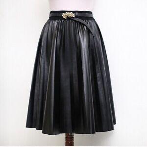 nuova collezione a2324 3bf26 Dettagli su Gonna Longuette A Pieghe Plisse In Eco pelle Stile Zara/veste  M-L