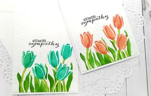 Handmade Greeting Card Sympathy Condolences Tulips Floral A2 Size w/ Envelope