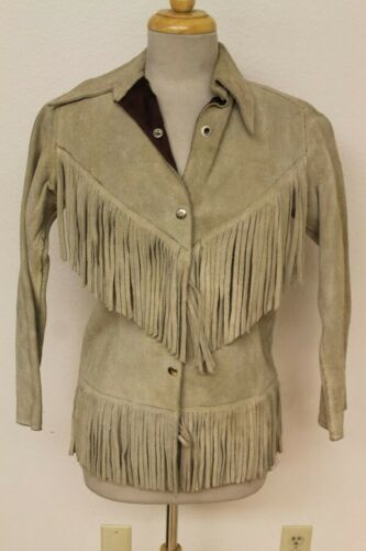 WOMENS VINTAGE IVORY WHITE LEATHER/SUEDE FRINGE/HI