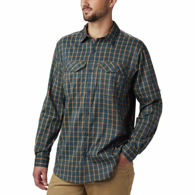 Men/'s Columbia Silver Ridge Plaid L//S Button Down 2 Colors Available