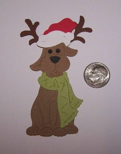 2 Christmas Dogs with Antlers Premade PAPER Die Cuts Scrapbook /& Card Making