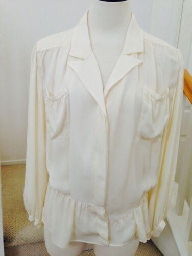36995 zijden ivoor top blouse Sz AuthNwt balenciaga ZuPiTOkX