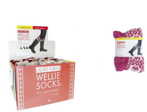 LADIES FLEECE WELLINGTON WELLIE BOOT SOCKS LINERS FAIRISLE CUFF SIZE UK 3-8 NEW