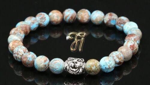 silberfarbener Löwenkopf Armband Bracelet Perlenarmband 8mm Herbst Jaspis