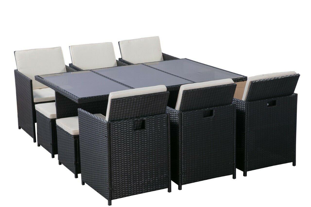 Ratán Sintético Muebles Jardín Conjunto Set Comedor 10 Sillas 1 Mesa Salón Patio