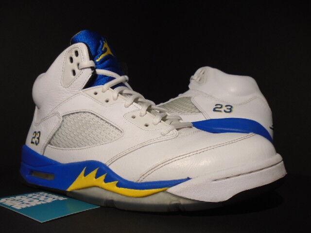 Nike Air Jordan V 5 Retro LANEY BUCS blanc ROYAL BLUE MAIZE Noir 136027-189 10 Chaussures de sport pour hommes et femmes