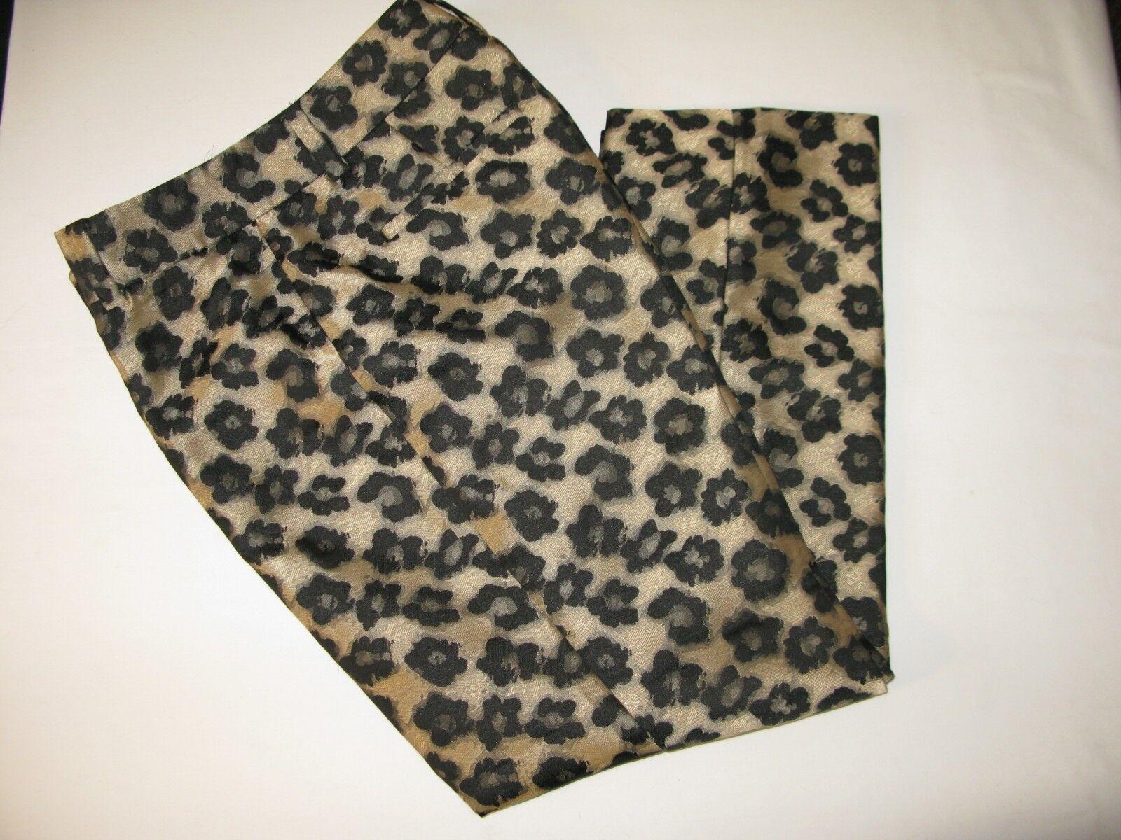 EUC Ann Taylor Sz 2 Signature gold Jacquard Leopard Ankle Pant FREE SHIPPING