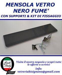 Mensole Vetro Su Misura.Dettagli Su Mensola Vetro Nero 60 X 15 Con Kit Di Fissaggio Spessa 6mm Disponibile Su Misura