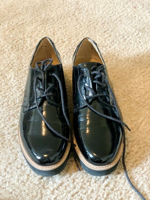 franco sarto Womens Lace Up Loafers Shoes Size  7.5  black Faux patent Leather