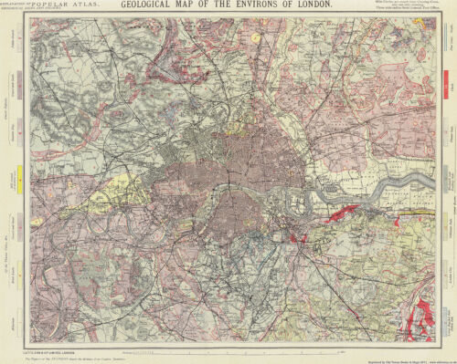 Geological Map of the Environs of London 1883 large modern reprint