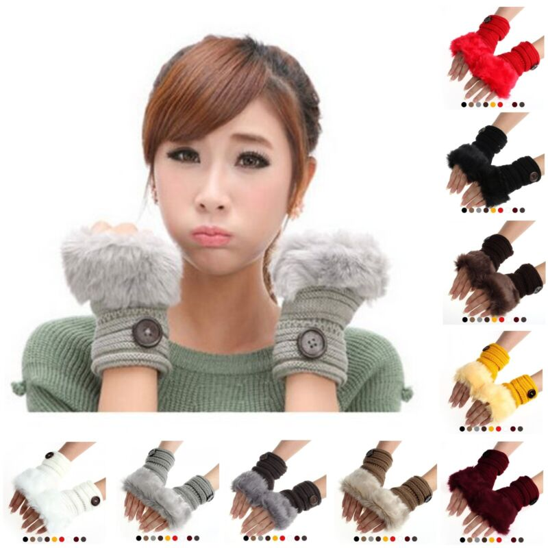 Fashion Artificial Rabbit Fur Half Finger Fingerless Warm Kniting Wool Gloves Vivid And Great In Style