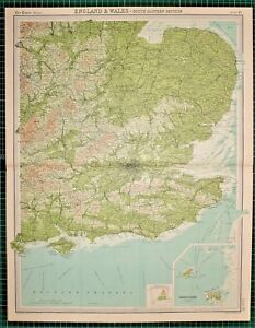 Large Map Of England.1921 Large Map England Wales South Eastern London Channel Surrey