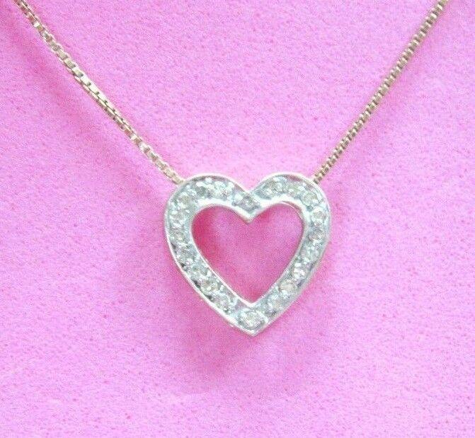 LQQK Gorgeous Sparkly 10K WH Y  gold 0.40 ctw DIAMOND open HEART PENDANT Charm