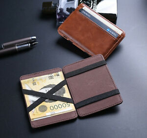 Novelty-Magic-Slim-Leather-Money-Clip-Mens-ID-Credit-Card-Holder-Case-Wallet