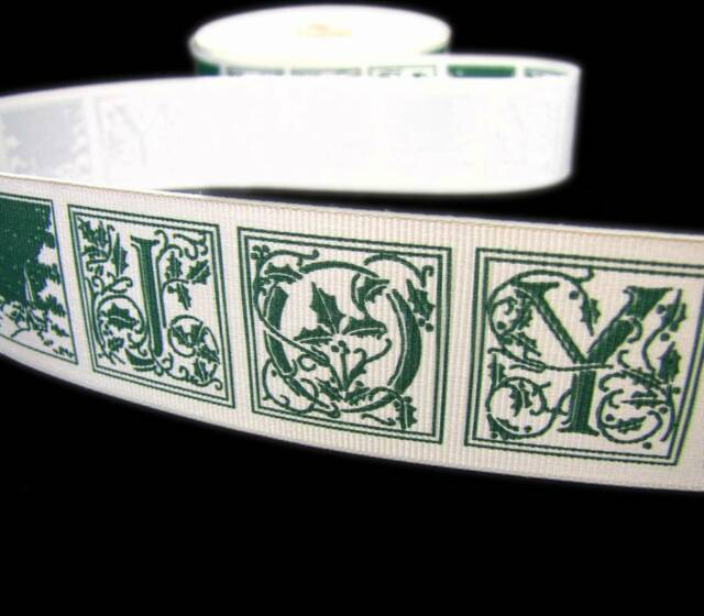"5 Yds Christmas Green Modern Snowflake Satin Ribbon 1 1//2/""W"