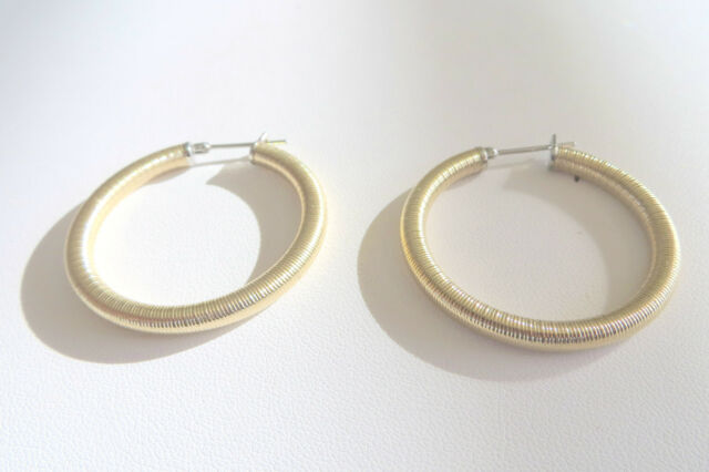 Women's Stainless Steel Gold Plated Satin Finish Hoop Earrings 3 MM 1 Inch Round
