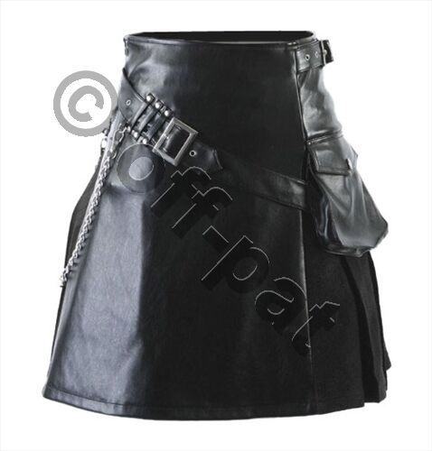 Mans Heavyweight Real Leather /& Suede Utility Kilt  Choice of Length /& Sizes