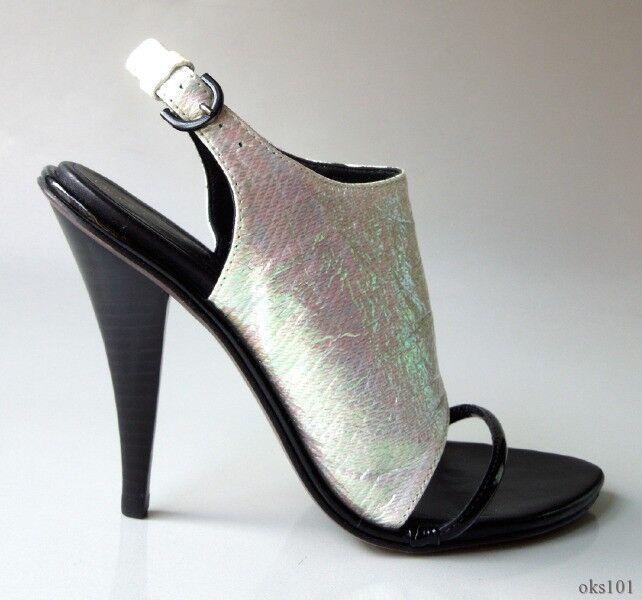 NIB  325 Rebecca Minkoff white opalescent leather slingbacks heels shoes 6