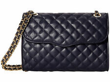 NWT Rebecca Minkoff Medium Quilted AFFAIR Leather Bag INK DEEP BLUE NAVY $295