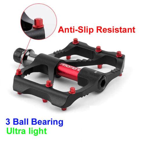 "1 Pair Mountain Bike Pedals Aluminum Alloy 9//16/"" Flat Platform 3 Sealed Bearings"