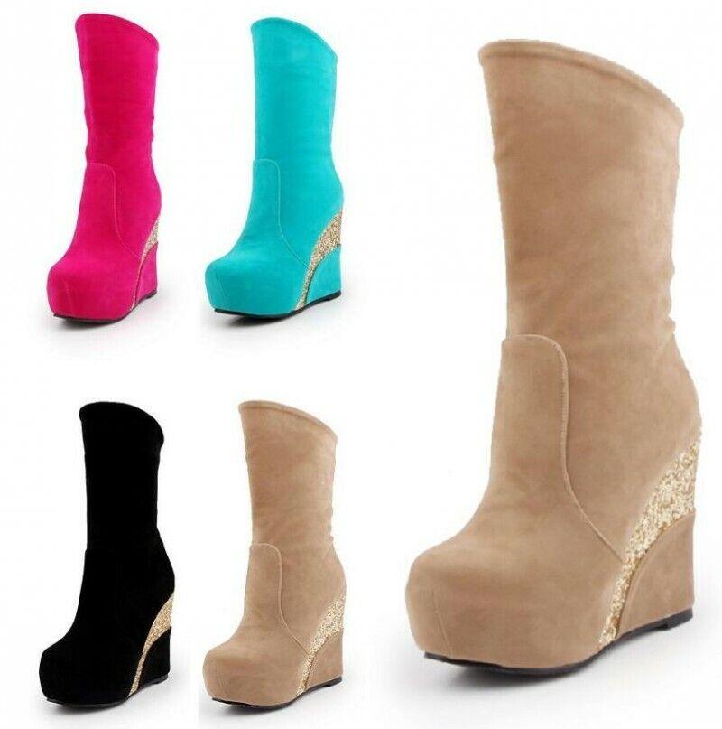 Damen Keilabsatz Blingbling Platform Rund Ankle Stiefel Winter Schlupf Schuhe Neu