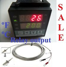 Dual Digital PID Temperature Controller Kiln Furnace Oven +Thermocouple Relay In