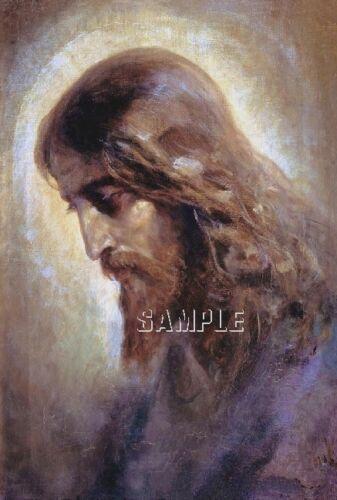 VINTAGE JESUS CHRIST FAITH PORTRAIT PROFILE RELIGIOUS CANVAS ART PRINT