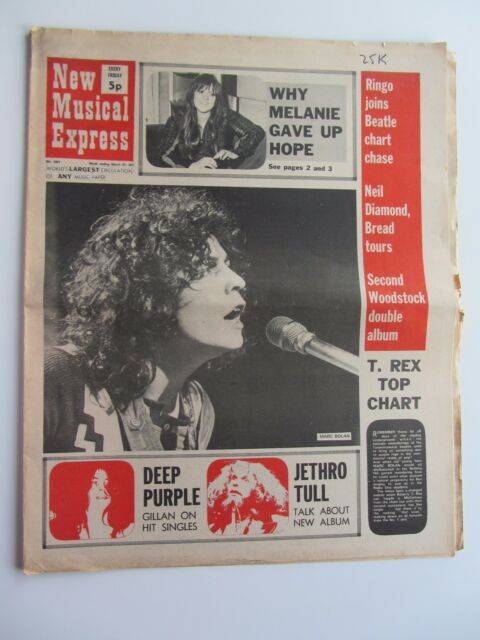 MARC BOLAN N.M. E. étui MARCH 1971, Beatles Solo Chase UP Charts