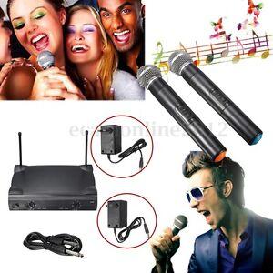 Pro Dual Channel 2 Wireless Microphone System Cordless Handheld Mic Kareoke KTV