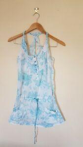 Ladies-White-Blue-Patterned-Top-Size-8-lt-CX2750