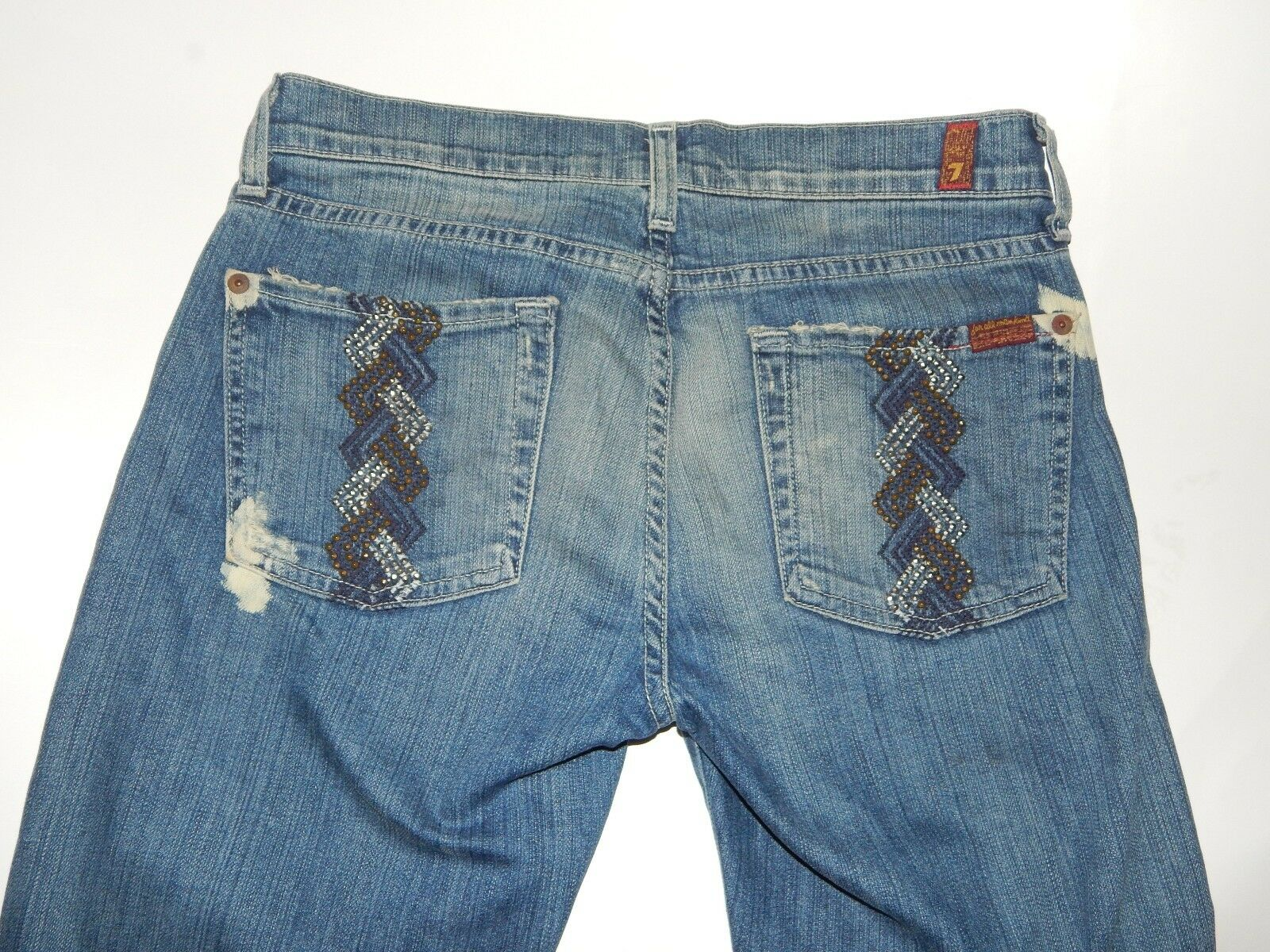 7 For All Mankind Trouser Jean Bootcut Women Sz 28 Embellished Braided Studded