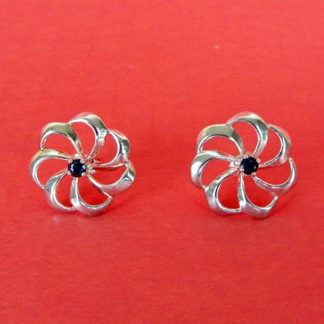 """Vintage Avon Sterling Silver Sapphire Flower Swirl Earrings Studs ¾"""" Precious"""