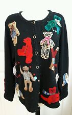 VINTAGE SUSAN BRISTOL UGLY CHRISTMAS SWEATER TEDDY BEARS Bear SIZE XL Flaw!