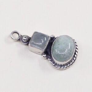 Vintage-Sterling-Silver-Handmade-Pendant-Solid-925-Charm-W-Moonstone-N-Jade