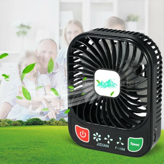 Brushless Mini Fan USB Rechargeable 3Controllable Speed LED Portable Desk Fan