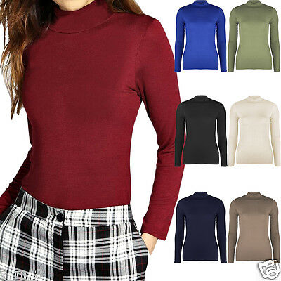 Womens Ladies Plain Polo Turtle Neck Long Sleeve Top Bodycon Casual