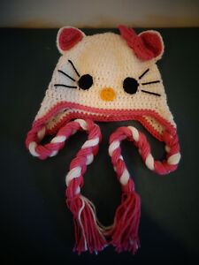 Hand Made Crochet Hello Kitty Hat 10yrs Adult