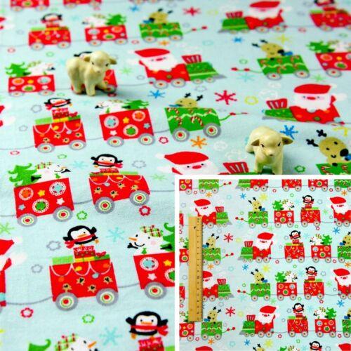 Navidad Azul Rojo Verde Medidor de franela de algodón tejido Festival De Coser De Juguete De Tren