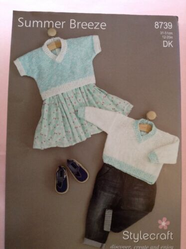 """Stylecraft Summer Breeze D//K Babies Sweater Knitting Pattern 8739 Sizes 12-20/"""""""