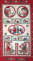 Christmas Fabric - Be Merry Teddy Bear Wallhanging Red - Marcus Bros 23 Panel