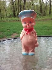 Sun Rubber Doll Boy Train Conductor Rubber Squeak Toy Squeeze Baby Vintage 1960