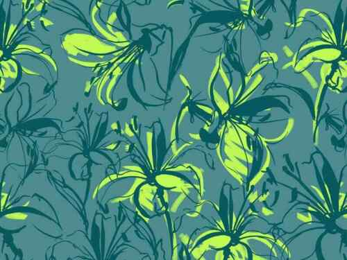 """45/"""" 16 mommy Lilies Jade and Lime 100/% Silk fabric Crepe de Chine"""