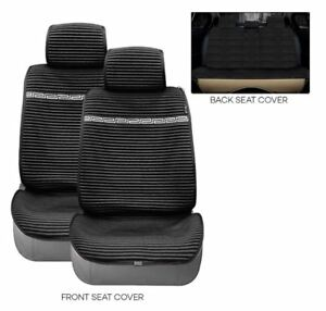 Linen-Car-Breathable-Seat-Cover-Cushion-Set-BLACK