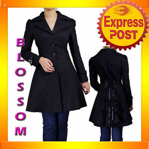 RK66-Black-Rockabilly-Trench-Coat-Trenchcoat-Winter-Lace-Up-Ruffled-Jacket