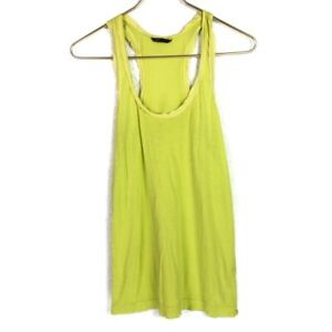 Club Monaco Chartreuse Green Knit Tank Top Silk Trim Racerback Size Small