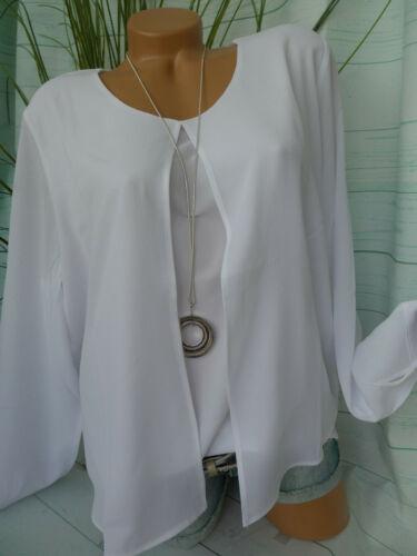NEUF 260 Heine Shirt Chemisier Femmes Taille 44 à 46 blanc Lagen Look 2 in 1 effet