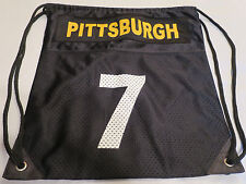 "Pittsburgh #7 Black Drawstring Backpack Tote Workout Exercise Bag   15"" x 16"""