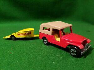 Matchbox-Superfast-N-53-CJ8-Jeep-1977-Lesney-England-Remolque-Moto-Honda-no38