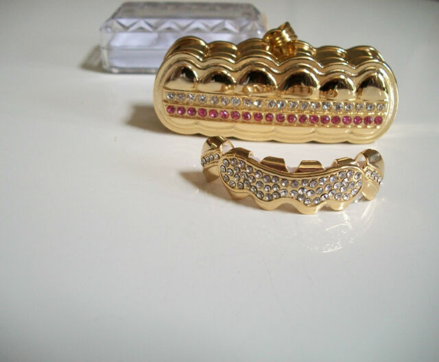 Gold finish  For Top Teeth Hip Hop Bling Mouth  Grillz With Holder & Box