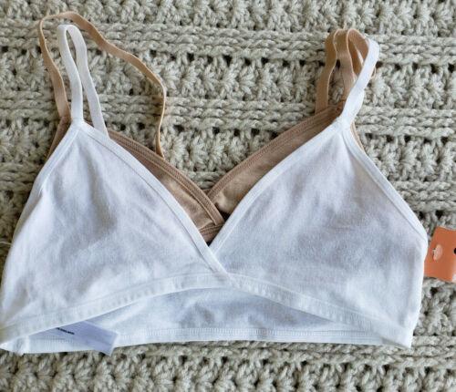 Fruit of the Loom Girls Beginner Bras Lot 2 White//Beige Cotton Blend Pull-Over